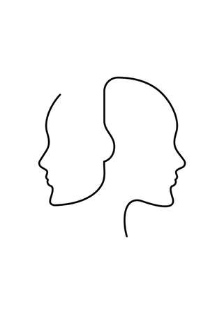 Poster drawn in continuous line consisting of two female profiles