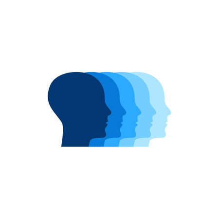 Profiles of human heads. Logo for hr. Psychology icon. Staff sign