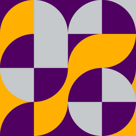 Geometric square pattern in Bauhaus style with circles 矢量图像