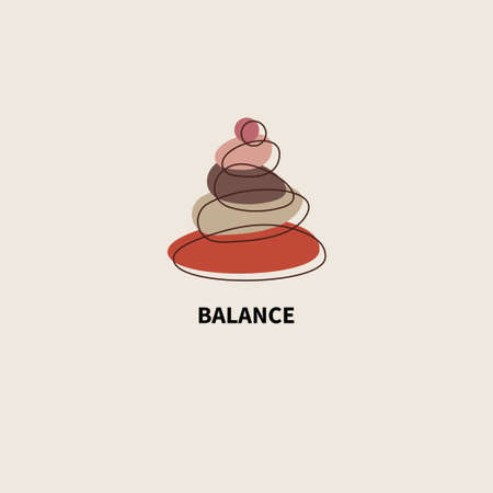 Balance and meditation simple icon with stones. Logo for spa or yoga studio