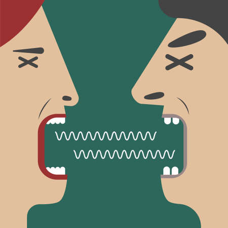 Man and woman yelling at each other. Quarrel between husband and wife Vettoriali