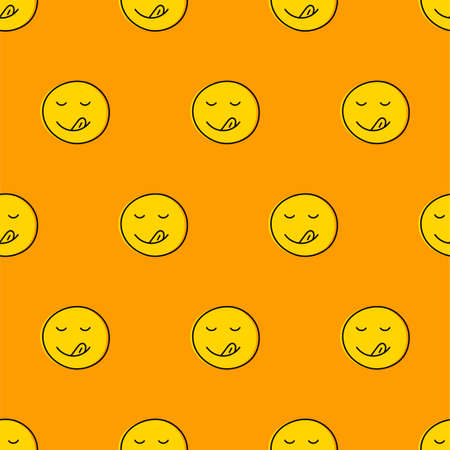Seamless pattern with licking face for cafe, restaurant, bar