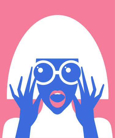 Surprised cartoon girl with sunglasses in flat style. Advertising illustration Vettoriali