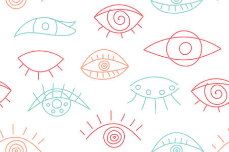 Seamless abstract fashion pattern with line eyes Vettoriali
