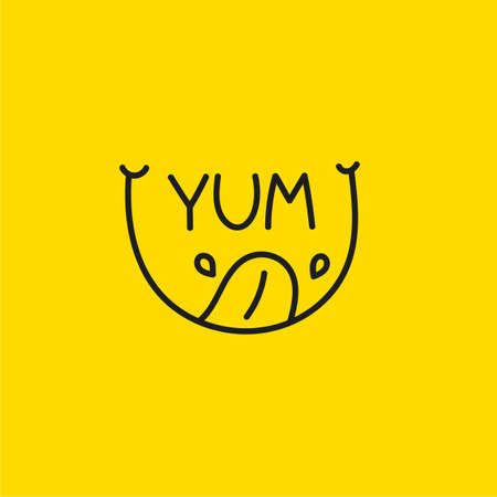 Yum icon with smile, tongue and saliva. Abstract   line 矢量图像