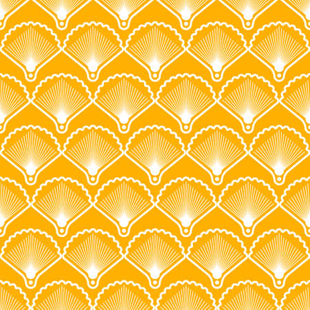 Elegant seamless pattern in art deco style. Background with shells for wallpaper