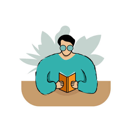 Young man reading book at table. Abstract cartoon flat character