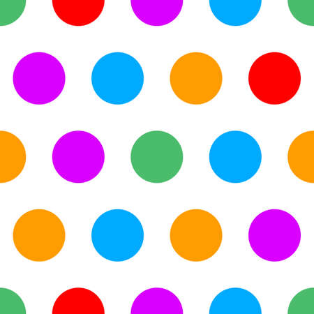 Polka dot seamless simple pattern with colore circles