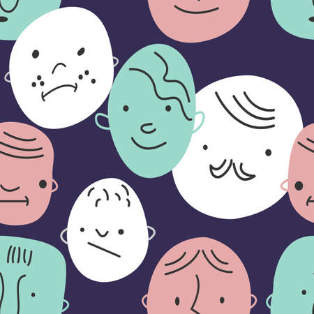 Seamless hand drawn pattern with different faces