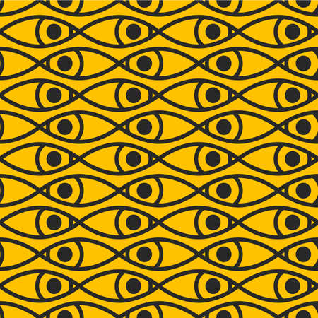 Fish or eyes abstract geometric pattern. Print with eyes 矢量图像