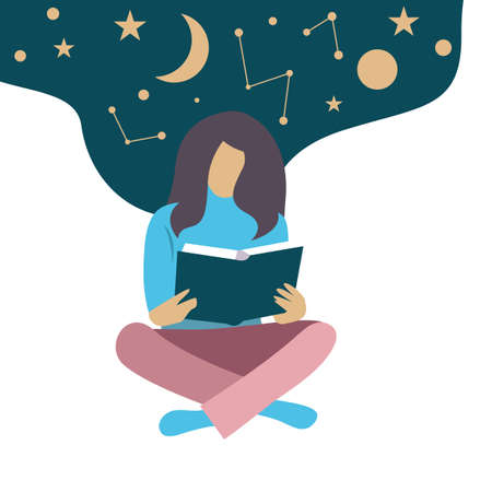 Girl reading scientific book. Education vector concept