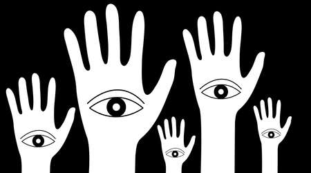 Forest of hands with eyes. Concept of schizophrenia
