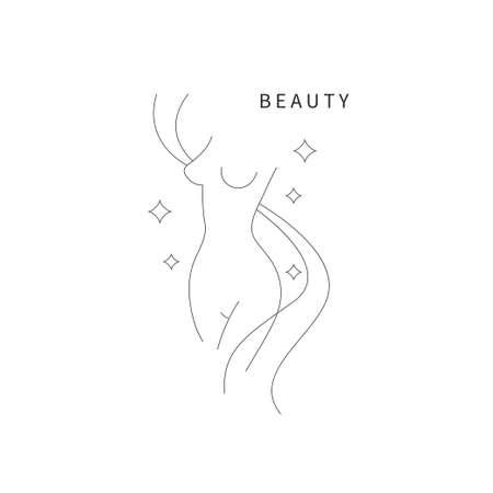 Beautiful female body symbol. Plastic surgery, liposuction 矢量图像
