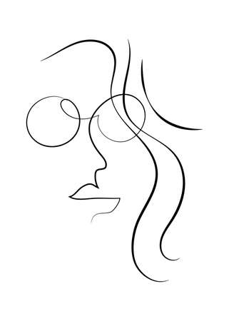 Girl with glasses hand drawn in one continuous line