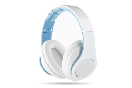 white trim: A white headphone with blue trim