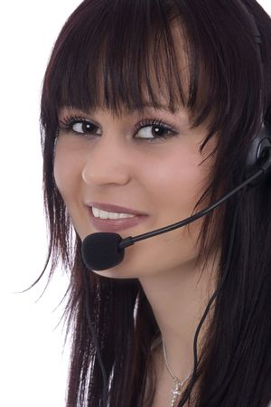 handsfree phone: Woman telephonist with hands-free phone