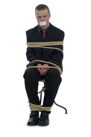 tied hair: Parit� uomo d'affari bastone fino bocca su sfondo bianco