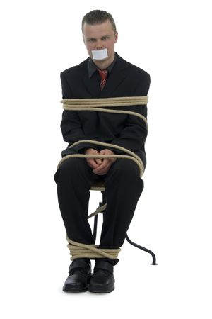 tied up: Tied businessman stick up mouth on white background