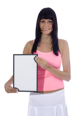 show bill: Atractiva mujer la celebraci�n de una se�al en blanco sobre un fondo blanco