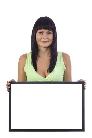 show bill: La celebraci�n de una atractiva mujer en blanco signo (LCD) en un fondo blanco