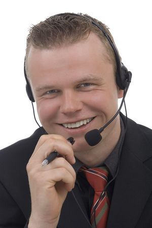 Men telephonist against a white background photo
