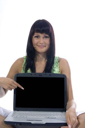 show bill: Sentado mujer con bloc de notas sobre fondo blanco