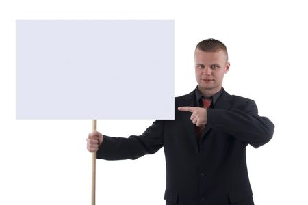protester: Man holding blank gray sign isolated on white background. Stock Photo