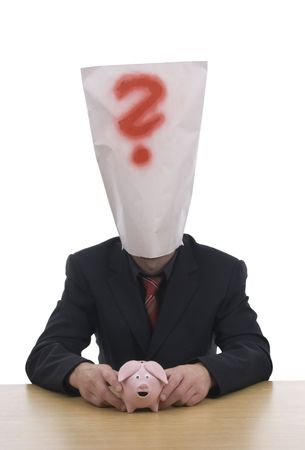 Businessman with sack on head whereat is red query. photo