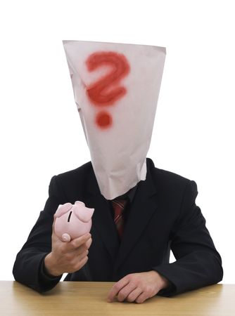 Dealer in moneybox and bag on head whereupon is red query.  photo