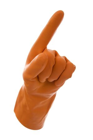 nit: Hand in the orange gloves indicant finger- sign,roadsing.On white background.  Stock Photo