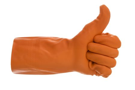 eventually: Arm in orange gloves- sign ready eventually at veer dissent from.On white background. Stock Photo