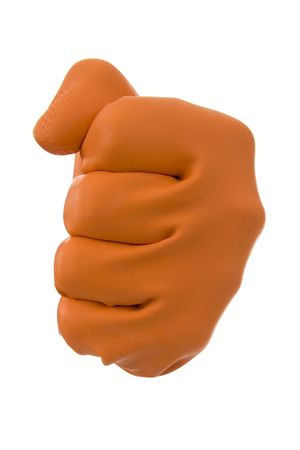 aggressiveness: Hew in fist in orange gloves- sign aggressiveness,parley,force.On white background.