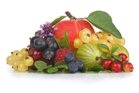 untitled key: Variety of fresh colorful fruits.On white.