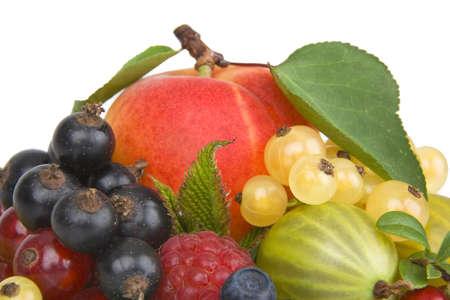 untitled key: Fresh colorful fruits on white.