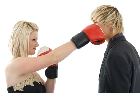 Man got from women boxing glove,on white background. photo