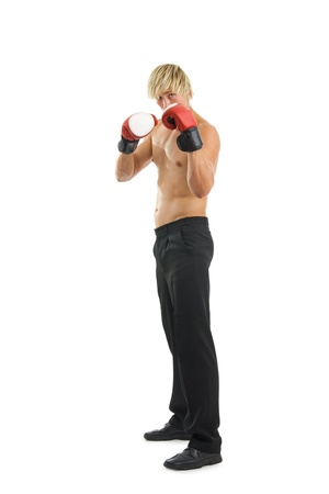 Man boxer on white background.Possible financial context.On white background. photo