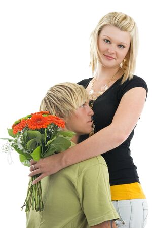 civility: Man and wife with flower,on white background.