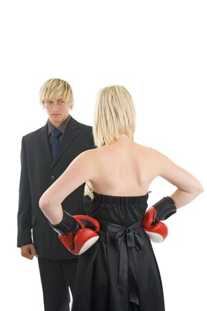 Man and woman conflict,on white background.Possible financial context.On white background. photo