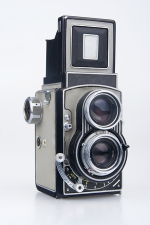 viewfinder vintage: Old camera.On white background.