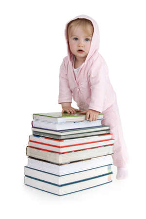 leant: Infant leant about books on white background.