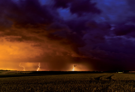 Summer storm with lightnings photo