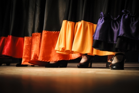 skirts: Flamenco dancers close-up skirts and shoes