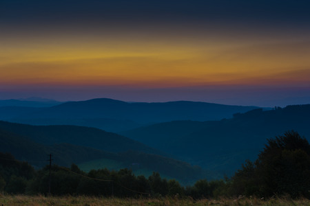 appears: Sunrise scenery in hills before the Sun comes up and appears