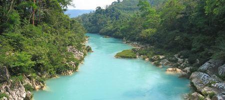 Agua Clara river upper view - Mexico - Panorama.