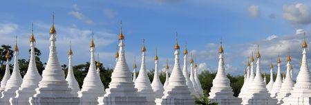 Forest of stele in Kuthodaw - Mandalay - Myanmar - Panorama. Stock Photo