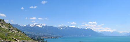 leman: Large view from the Leman Lake - Switzerland - Panorama.
