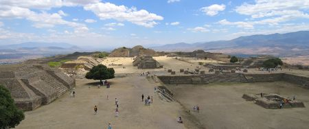 Plaza Central from Monte Alban old city - Mexico - Panorama2. Stock Photo