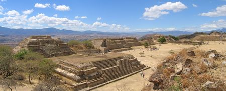 Pyramids of Monte Alban old mountain city - Mexico - Panorama.