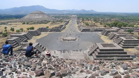 moon  metropolis: Teotihuacan from the moon pyramid - Mexico - Panorama.