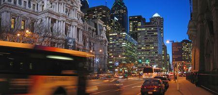Active city streets around the City Hall - Philadelphia.